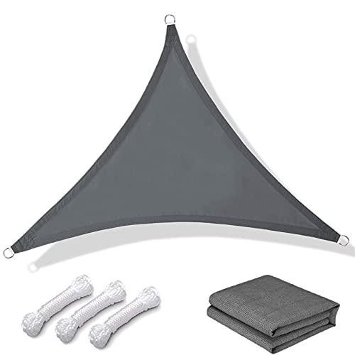 wiipara Sonnensegel Dreieck 3x3x3m inkl Befetigungsseile PES Polyester wasserabweisend imprägniert Windschutz mit 95% UV Schutz Balkon Sonnenschutz für Garten, Terrasse, Camping, Anthrazit