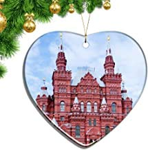 Kysd43Mill Russia Red Square Moscow Heart Shape Christmas Ornaments Ceramic Sheet Souvenir City Travel Pendant Gift Christmas Tree Decoration Ornaments Keepsake Gifts