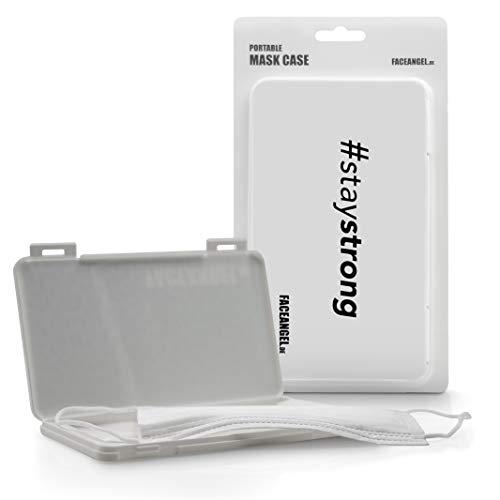 FACEANGEL Masken-Box für bis zu 5 Mund- und Nasenmasken – Weiß #Staystrong I Masken-Etui für die hygienische Masken-Aufbewahrung I Ideal für Schulranzen, Handtasche, Rucksack & Auto