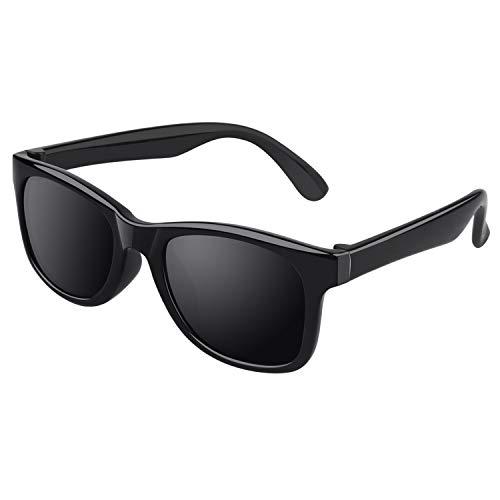 CGID Gummi Flexible Kinder Polarisierte Sonnenbrillen für Baby und Kinder im Alter von 3-6, K25,Mattschwarz Schwarz