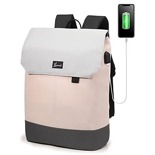 LOVEVOOK Mochila elegante para mujer, mochila de día impermeable con compartimento para portátil de 15,6 pulgadas y bolsillo antirrobo para excursiones, universidad, escuela y oficina Rosa. M