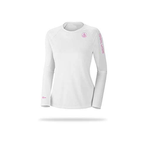 Coastal Waters Women's Crew Neck Sun Protection (White, Medium)