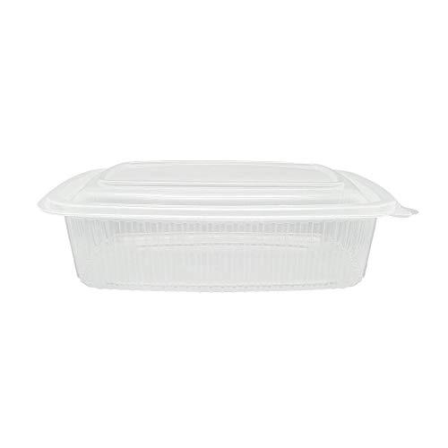 TELEVASO - 50 uds - Envase/Recipiente para Comida con Tapa bisagra Oval - Capacidad 750 ml - Polipropileno (PP) traslúcido - Contenedores Desechables con Tapa, Apto para microondas