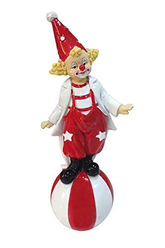 Oberle Dekofigur Clown auf Ball rot weiß 18cm Figur Karneval Köln Harlekin Ringelshirt