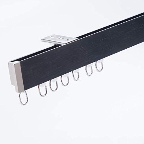 BBNBY Riel de Cortina montado en la Parte Superior, la Superficie de Dibujo de riel Recto Plano de Aluminio de Doble Capa de 1 m es silenciosa y Suave, Adecuada para Paneles de Cortina/tabiques