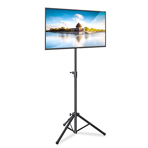 """Pyle Premium LCD Flat Panel TV Tripod, Portable TV Stand, Foldable Stand Mount, Fits LCD LED Flat Screen TV Up To 32"""", Adjustable Height, 22 lbs Weight Capacity, Vesa 75x75, 100x100 (PTVSTNDPT3215)"""