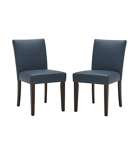 CHITA Upholstered Leather Dining Chair Modern Kitchen Side Chair Set of 2 Dark Blue
