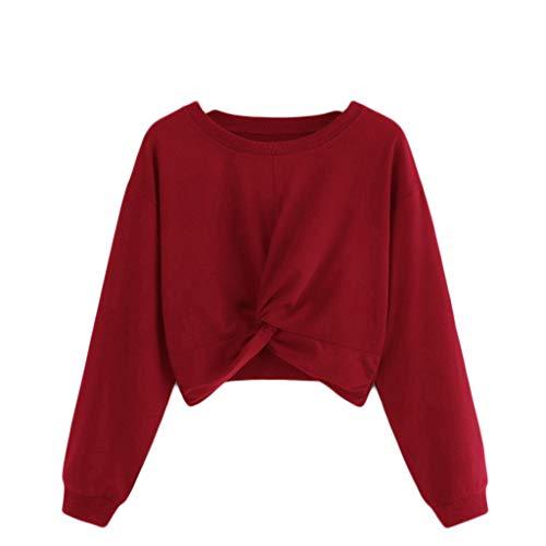 Eternali Damen Winter Sweatshirt Pullover Tees Sexy Front Tie Knot Crop Tops Sweatjacke Frauen Mode Langarm Kapuzenjacke Oberteile Schwarz Rot Weiß Off Shoulder Bluse Hemd Kapuzenpullover