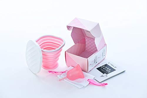 Coupe Menstruelle Louloucup – Cup menstruelle Bio pour règles - Made in France - Alternative saine aux serviettes hygiéniques et tampons – 100% Silicone Médical - Réutilisable 5 ans - Medium - Rose