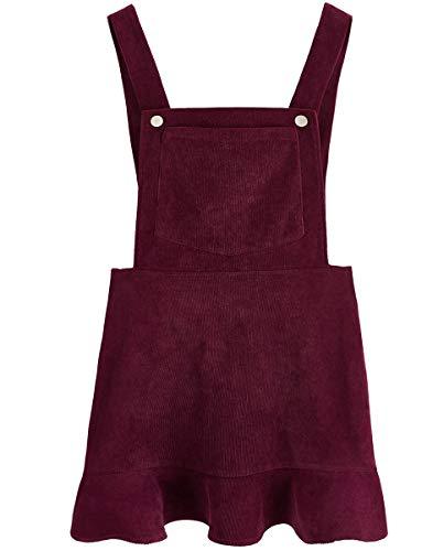 Romwe Women's Ruffle Hem Straps A Line Bib Pinafore Corduroy Pocket Overall Dress Burgundy S