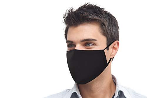 PRECORN Unisex Baumwoll Mund- & Nasenmaske in schwarz Behelfsmaske Schutzmaske Mundschutz Maske 3-lagig Wiederverwendbare Masken
