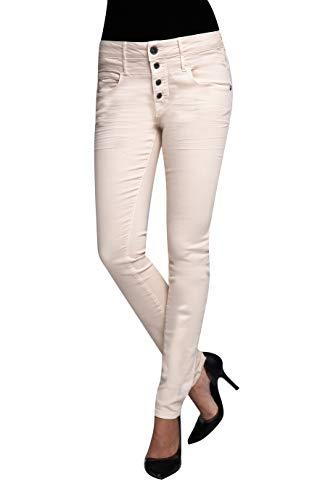 Coccara Damen Stoffhose Anzughose mit Zwei Reihen Gürtelschlaufen Slim Fit Carrie, Größe:W27 / L32, Farbe:CN2016 - Sand
