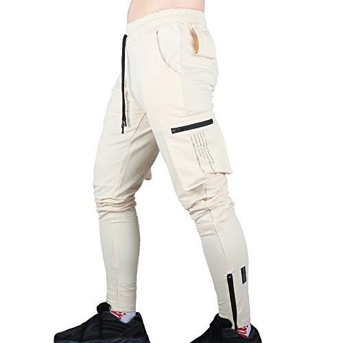 Katenyl Pantalones Cargo Multibolsillos de Tendencia para Hombre, Ropa de Calle de Moda Relajada, Pantalones Deportivos Informales para Correr al Aire Libre con Costuras L