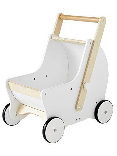 Vertbaudet 2-in-1 Puppen-Kinderwagen, Holz Natur/weiß ONE Size