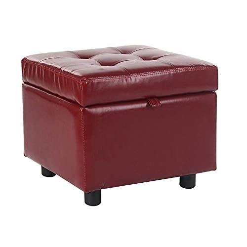 CHENJIA Reposapiés con Tapa Taburete de Cuero PU Caja de Almacenamiento Desgaste Antideslizante Reposapiés Osman Pouf Adecuado for Dormitorio Balcón (Color : Wine Red)