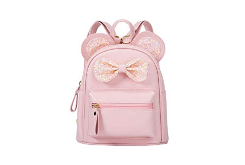 Cutest Cartoon Toddler Sequin Bow Mouse Ears Bag Mini Travelling School Shoulder Backpack for Teen Little Girl Women (pink)