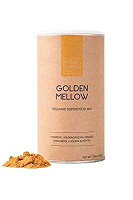 Your Super Mellow Yellow Superfood Mix - Plant Based Stress Reduction, Anti-inflammatory, Essential Vitamins, Antioxidants, Non-GMO, Organic Turmeric, Ashwagandha, Lucuma - 7.5 Ounces, 40 Servings