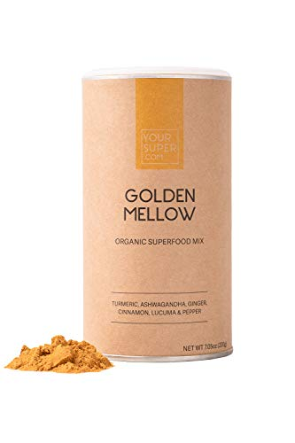 Your Super Golden Mellow Superfood Mix - pflanzlicher Stressabbau, entzündungshemmend, essentielle Vitamine, Antioxidantien, Non-GMO, Bio-Kurkuma, Ashwagandha, Lucuma - 200g, 40 Portionen