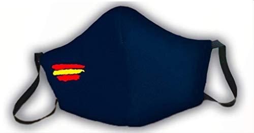 Mascarilla protectora de 3 capas azul homologada bandera de España
