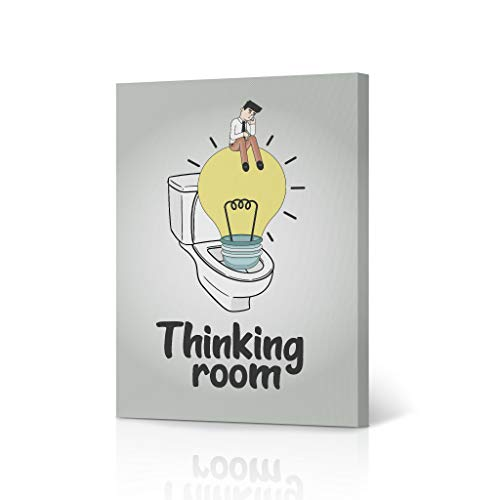 HB Art Design Thinking Room Funny Bathroom Quote Saying Canvas Print Wall Art Bathroom Decor Farmhouse Man on The Bulb Design Bathroom Sign Accessories Toilet Best Gift Ready to Hang 12x8 inches
