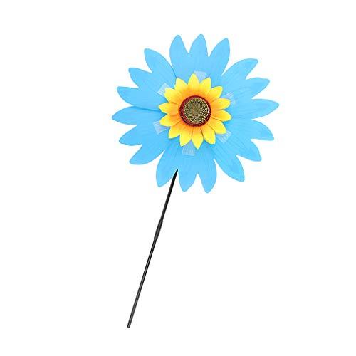 Sharplace Fleur Soleil Piquet Moulin à Vent Décor Intérieur Extérieur - Bleu, 36 x 75 cm