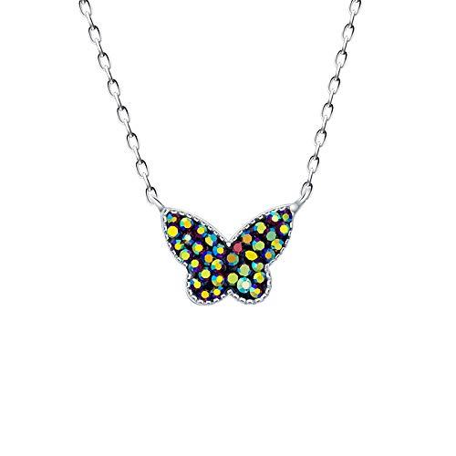 JUGTL S925 sterling zilver dames halsketting vlinder klei lijmen pot diamanten 40 cm