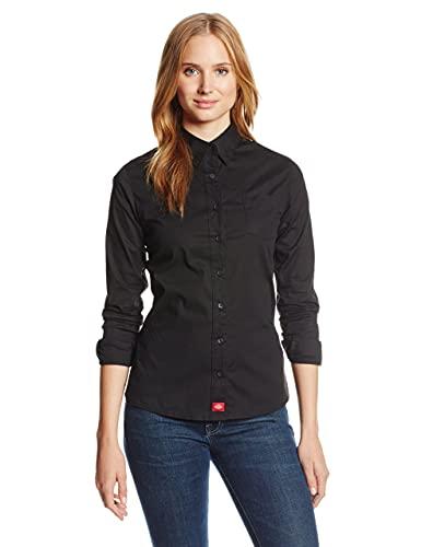 Dickies Girl Juniors Long Sleeve Button Front Poplin Shirt,Black,Medium
