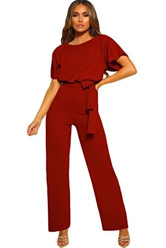 emmarcon Tuta Lunga Jumpsuit Elegante Abito Cerimonia Donna Maniche Corte a pipistrello-Red-IT42-44/M