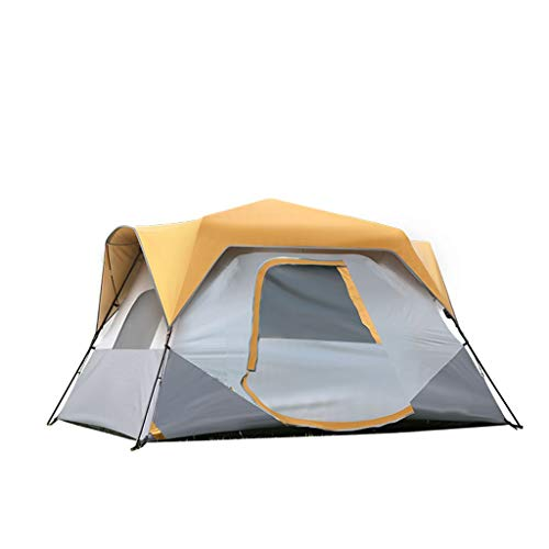 LZL Tents Semi-automatic Pop Up Camping Tent 6 8 Person with 1 Door&3 Mesh Windows Instant Tent for Outdoor Hiking Outdoor Tent (Color : Yellow, Size : 6 person)