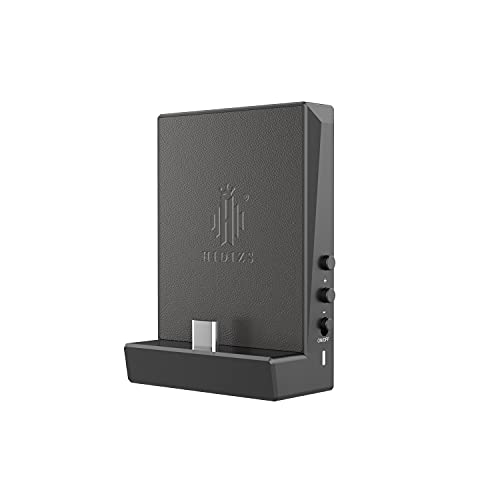 HIDIZS DH80 Portable Balanced DAC & AMP, Supports MQA Audio Technology, DSD64/128 Portable Audio Decoding Amplifier, 4.4mm/3.5mm Port Output for Windows 10/Mac OS/iPad OS/Android/iOS System (Black)