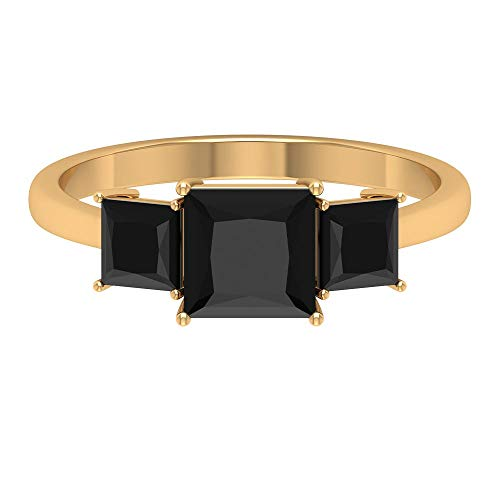 Rosec Jewels 14 quilates oro rosa talla princesa Black Diamante negro creado en laboratorio