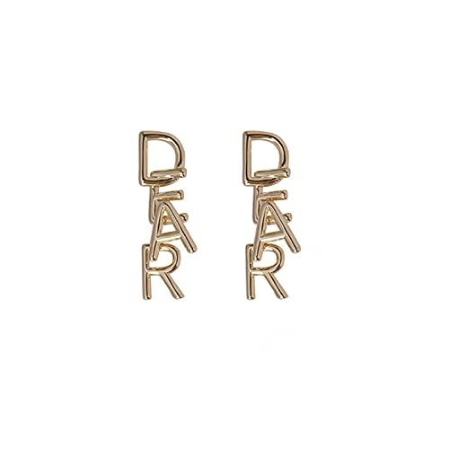 Pendientes personalizados con letra de metal con aguja de plata S925, diseño de nicho, pendientes simples, pendientes de moda europea y americana [chapado en oro real]