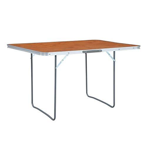 ZXD Aluminium Folding Camping Tisch, Aluminium Folding Gartentisch, Klappgartentisch, Aluminium Tisch, Klapptisch 180X60 cm,Braun