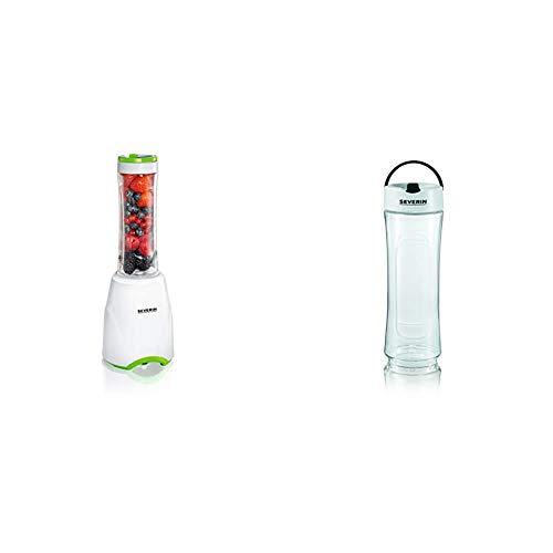 SEVERIN SM 3735 Smoothie Mix & Go (ca. 300 W, 600 ml, Inkl. 2 Trinkbehälter mit Deckel) weiß/grün & ZB 9056 Ersatztrinkbecher, passend für SM 3735, SM 3737, SM 3738 und SM 9479, schwarz/weiß,2er Pack