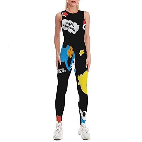 Starolac Ses-ames Ajuste ajustado de una sola pieza Deportes Yoga Wear sin mangas de una sola pieza Mono deportivo S