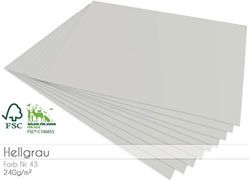 Faltkarten.com - 25 Bogen Blanko Cardstock - Bastelpapier 240g/m² DIN A4 in hellgrau