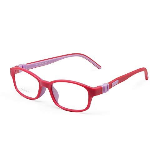 EnzoDate gafas para chicos y chicas, de talla 50/17, Pas de tornillo, flexible, vasos, optica de silicona blanda para joven Etudiant, montura de gafas para niños (Rose Violet)