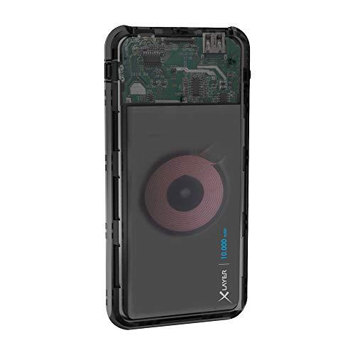 Xlayer Plus Wireless Charger Discover Powerbank 10000 mAh, Zusatzakku mit induktiver Ladestation, Qi Ladestation für Smartphones mit induktiver Lademöglichkeit, Anthrazit