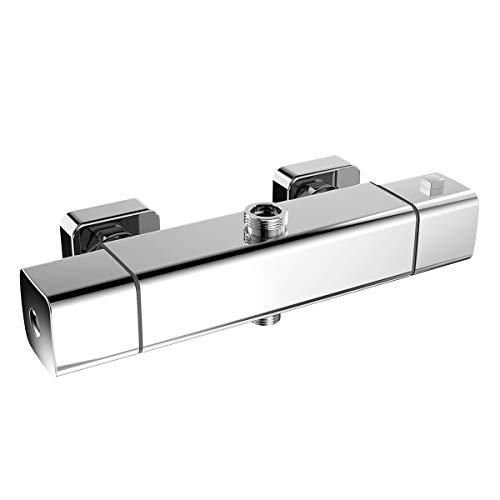 Duschthermostat Duscharmatur Thermostat mit 38 °C Sicherheitstaste Brausethermostat Mischbatterie für Brause Chrom eckig