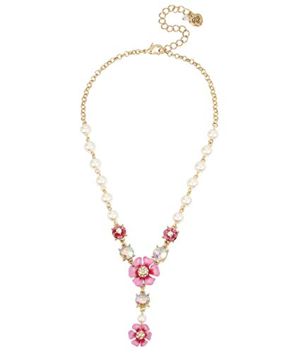 Betsey Johnson Flower Y-Shaped Necklace