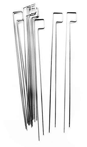 ShopHerzog Neuheit 10er Set Design Doppel-Grillspieße Edelstahl matt 2,5 mm ca. 33 cm lang