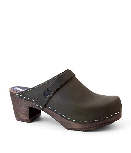 Sandgrens Swedish High Heel Wooden Clog Mules for Women, US 7-7.5 | Dublin Olive DK, EU 38