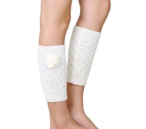 Nanxson Damen Beinwärmer Gestrickte Stulpe Kurz Socken Beinstulpen Ideales Wintergeschenk TTW0052 (L, weiß