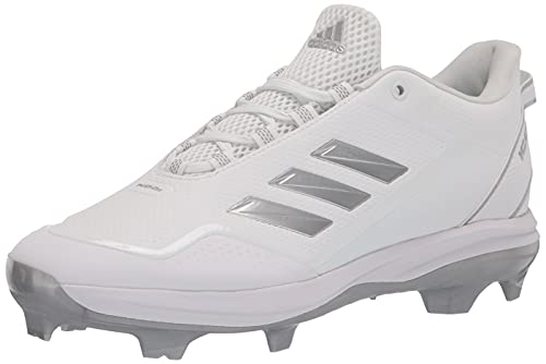 adidas Men's Icon 7 TPU Baseball Shoe, White/Silver Metallic/Black, 16