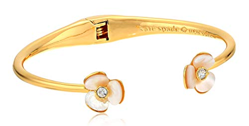 Kate Spade New York Women's Disco Pansy Thin Cuff Bracelet, Cream/Clear, One Size