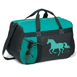 Dover Saddlery Running Horse Duffel Bag - Turquoise, 11'H x 18'W x 9'D.