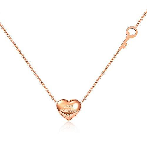 Dameshalsketting, titanium stalen roségouden hanger, sleutelhanger, liefdessleutelhanger, trui, ketting voor Valentijnsdag, cadeau