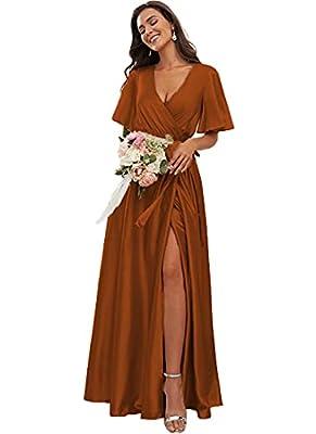 TRHTX Split Bridesmaid Dresses for Women Plus Size Long Satin A-line Party Dresses with Slit Pajamas with Belt V-Neck Formal DressesPlus Size 18 Burnt Orange