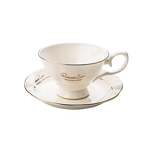 SXXYTCWL Taza de café del Hueso de la Carrera de Oro, la Taza de café Creativa y el Conjunto de platillos, adecuados para la Familia, el Restaurante, la Oficina