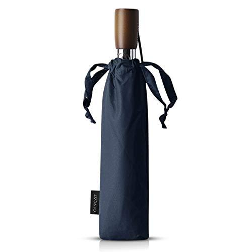 DORRISO Lujoso Automático Abrir/Cerrar Plegable Paraguas y Resistente al Viento Impermeable Compacto Real Mango de Madera ViajarNegocio Paraguas Azul
